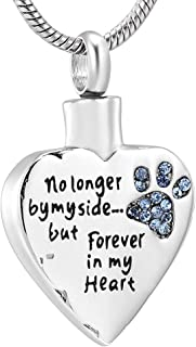 Fashion Pet Cremation Jewelry Stainess Steel Heart Keepsake Ashes Necklace Dog Cat Paw Memorial Urn Pendant