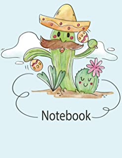 Notebook: Wide Ruled Lined Paper Notebook Journal Cute Cactus Pattern 8.5