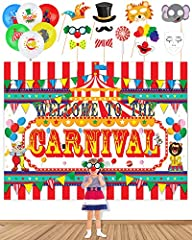 Carnival Party Supplies includes:a carnival backdrop measuring 71.6*54inch,11 large carnival photobooth props and 20 carnival balloons.A perfect kit for circus carnival themed party wedding,birthday party, carnival party decorations supplies kit Prem...
