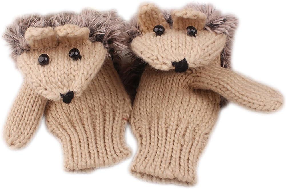 X&F Women's Cute Hedgehog Winter Knitted Cotton Mittens Girls Thick Gloves