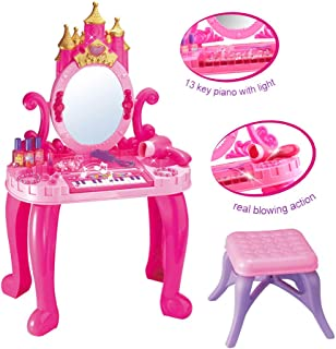 Kids Toys-Fzitimx, Vanity Beauty Multifunctional Piano Dresser Table with Makeup Accessories Birthday Gift for Child