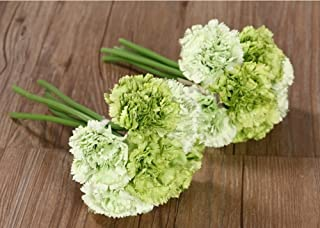 Nument(TM Silk Artificial Carnation Flowers Real Touch Flowers 2 Bouquets for Wedding Bridal Bridesmaid Home Decoration (Green)