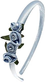 Cerchietto per capelli bambina con rose fatte a mano celeste
