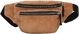 Everpert Women Corduroy Waist Pack Pouch Belt Chest Shoulder Bag