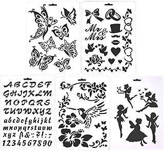 5 plantillas para dibujo de aerógrafo con purpurina para niños, de plástico, para manualidades