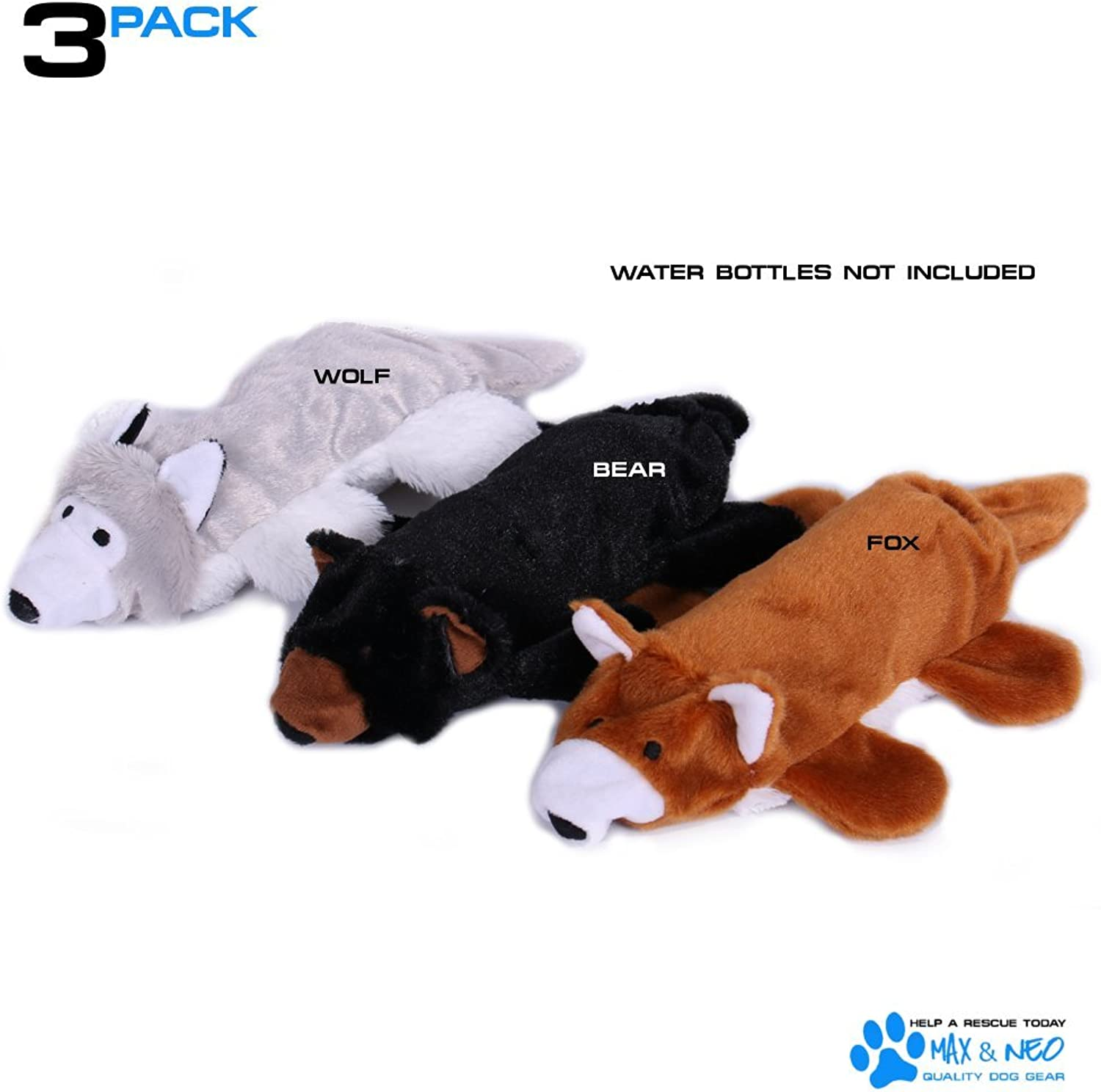 Max and Neo Fox, Bear and Wolf Water Bottle Dog Toys  3 Pack  We Donate a Toy to a Dog Rescue for Every Toy Sold (Fox, Bear and Wolf)