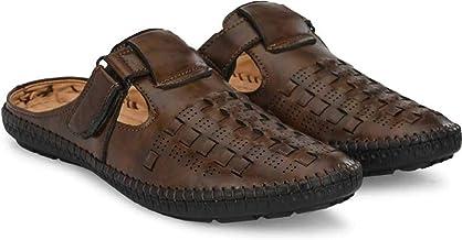 NAYKA Men's Synthetic Velcro Roman Outdoor Adjustable Sandals,