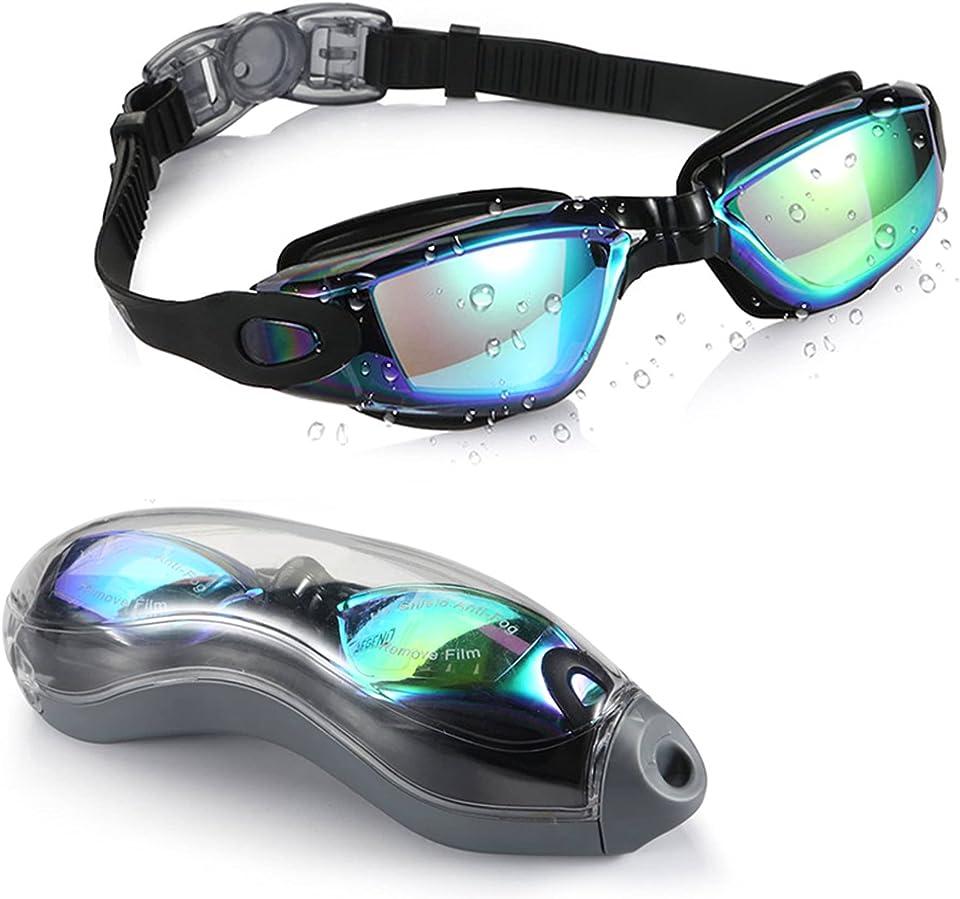 ICOUVA Swimming Goggles, Swim Goggles for Adult Men Women No Leaking, Anti Fog, UV Protection - Storage Case