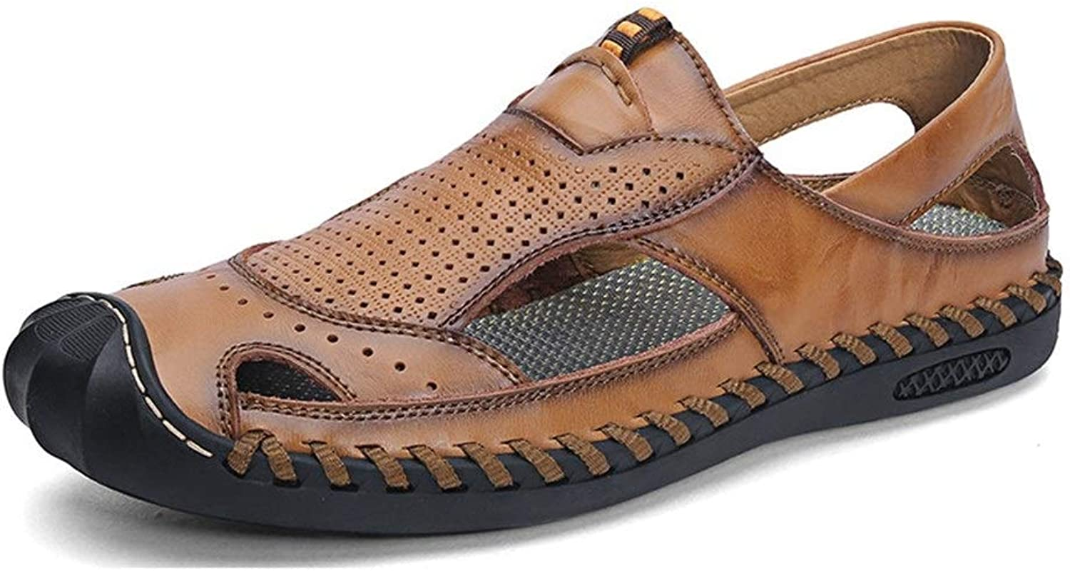 MUJUN Fashion Tropical Summer Comfort Elegant Beach Business Lightweight Waterproof Sandals for Men Outdoor Casual Water shoes Genuine Leather Handmade Sewing Perforated Closed Anti-Collision Toe