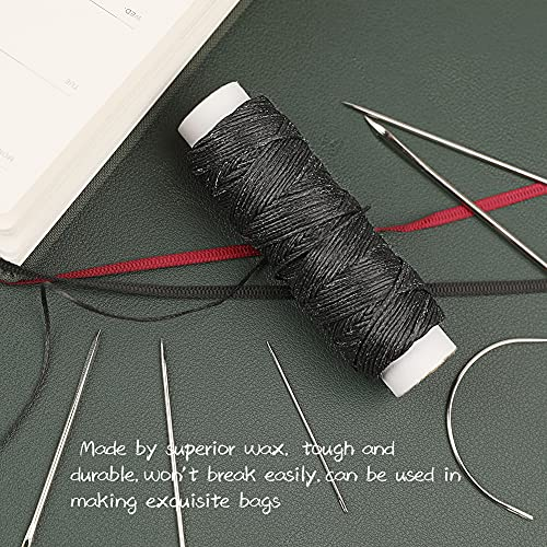 32 Yards Waxed Thread with Leather Hand Sewing Needles, 150D Flat Sewing Waxed Thread and Leather Repair Needles for Home Upholstery Carpet Leather Canvas Repair and Sewing (Black)