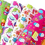 U'COVER Birthday Gift Wrapping Paper Sets Happy Birthday Greetings Theme 4 Styles Mixed Gift Wrap...