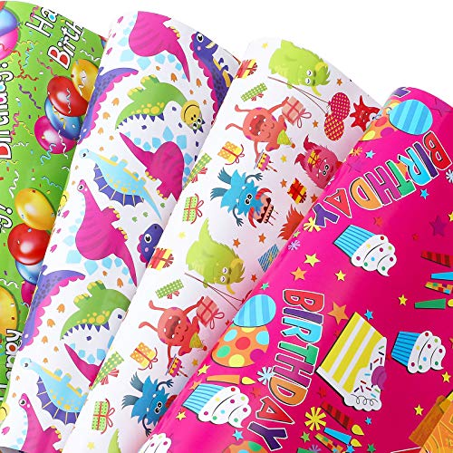 U'COVER Birthday Gift Wrapping Paper Sets Happy Birthday Greetings Theme 4 Styles Mixed Gift Wrap Papers for Gifts Box Wrapped Decor for Girls Boys Kids Baby Shower Women 10 Folded Sheets 20 * 29inch