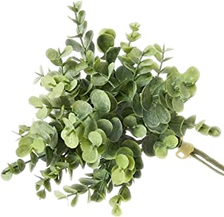 dezirZJjx Artificial Plants 1Bouquet Artificial Eucalyptus Leaf Fake Plant for DIY Wedding Party Home Decor - Gray Green