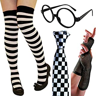 Ladies Glasses Accessory Womens Knee High Socks Checkered Tie Fishnet Glove Set One Size