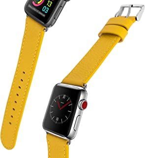 for Apple Watch Band, 44mm 42mm 40mm 38mm iWatch Band Genuine Leather Strap Stainless Metal Buckle for Apple Watch Series 4,Series 3,Series 2,Sport & Edition (Spring Yellow, 42MM)