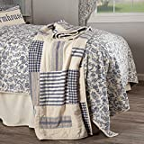 Piper Classics Doylestown Blue Quilted Patchwork Throw Blanket, Gingham Checks, Grain Sack & Ticking Stripes, 60' x 50', Blue & Cream Vintage Farmhouse, Rustic Country, or Cottage Bedroom