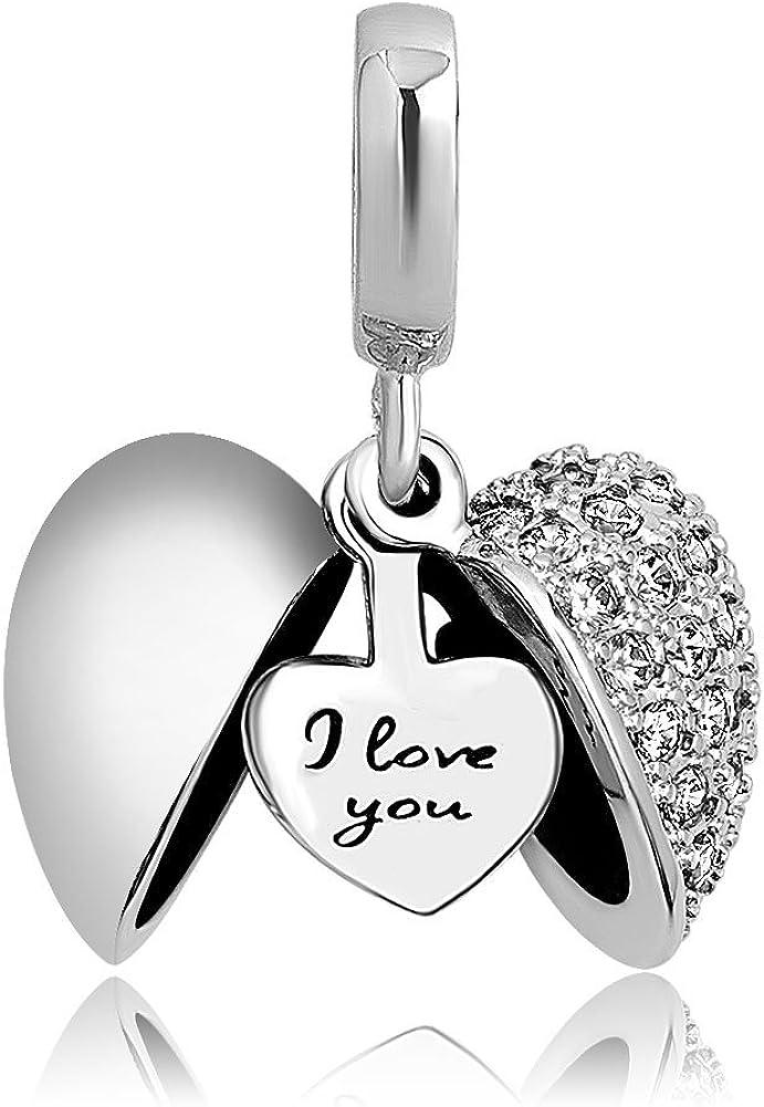 ShinyJewelry I Love You Heart Charm Dangle Bead for European Bracelet Necklace