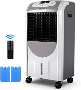 Portable Air Conditioner, Quiet Evaporative Cooler with Ice Compartment & Remote, Low Energy Air Cooler with Fan & Humidifier, 125 Square Foot Cooling, 8 Hour Timing, Portable AC for Home & Office