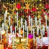 34 Adornos de Carámbano de Navidad Carámbanos de Acrílico Transparente Adornos de Gota de Carámbanos Retorcidos Decoraciones de Carámbanos Colgantes de Árboles de Navidad con Cuerda Plata