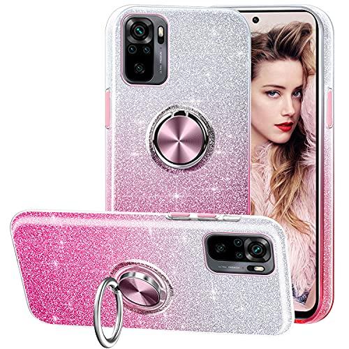 TVVT Funda para Xiaomi Redmi Note 10 4G/Note 10s, Gradiente Rhinestone Glitter Bling Crystal Clear 3-in-1 Brillante Silicona Case con Soporte Ring Kickstand Carcasa - Rosa Gradiente