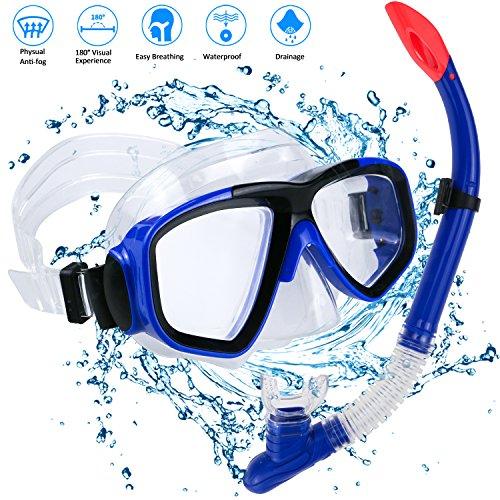 Philonext snorkelset voor volwassenen, duikbril met snorkel voor heren en dames, duiken, snorkelen, rondom zicht masker