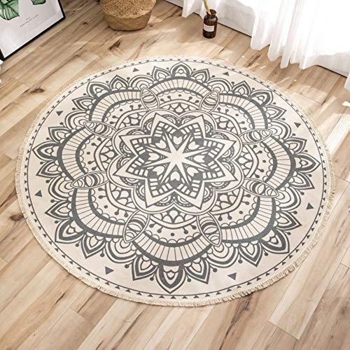 Wongfon Alfombra redonda de algodón de 90 cm de diámetro, tapete de puerta con flecos con borlas de mandala bohemio, alfombra de piso para dormitorio, sala de estar, sala de juegos para niños