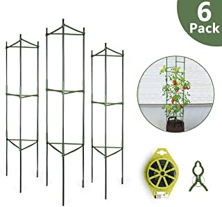 GROWNEER 6-Pack Plant Cages Assembled Tomato Garden Cages Stakes Vegetable Trellis, with 18Pcs Clips and 328Ft Twist Tie, for Vertical Climbing Plants