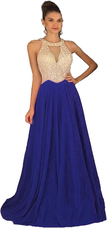 Fanciest Women's Crystal Beaded Prom Over item handling ☆ L NEW Chiffon Dresses 2021 Long