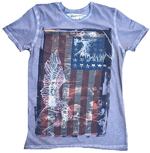 Amplified T-Shirt Gris Saint Sinner Ange Aigle et USA Tattoo Rock Star Design Vintage - Gris - 46