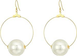 Kenneth Jay Lane Women's Gold Hoop with 20mm White Pearl Ball Fishhook Ear Earrings