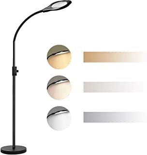 Joypea 2X-4X LED Magnifying Floor Lamp,Height Adjustable Gooseneck Standing Light,Adjustable Color Temperature 3000K-5500K,Perfect for Reading,Task Crafts- Black