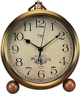 Klassisk retroklocka, gyllene bord skrivbord väckarklocka europeisk stil vintage tyst skrivbord väckarklocka icke tickande...