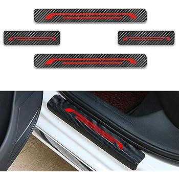 for Mitsubishi Outlander 4D Carbon Fiber Vinyl Sticker Car Door Sill Protector Door Entry Scuff Plates Car Stickers Accessories 4PCS