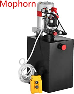 Mophorn 12V/DC Hydraulic Pump 15 Quart/ 3.9 Gallon Double Acting Metal Reservoir Hydraulic Pump Unit Remotely Controlled for Dump Trailer (15 Quart,Double Acting)