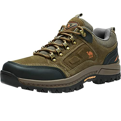 CAMEL CROWN Men s Walking Shoes Anti Slip Trainers Trekking Boots Low Cut  Suede Leather Waterproof Breathable ceaf3ff49495