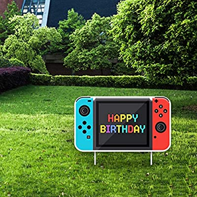 Video Game Happy Birthday Yard Sign - Video Game Shape Lawn Signs with Stakes for Boys and Girls - Special Yard Decorations for a Colorful Outdoor Birthday Party-Pink and Blue