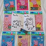 12 Sets of Peppa Pig Coloring Books and Crayon Set Kids Party Favors Bag Filler Supply