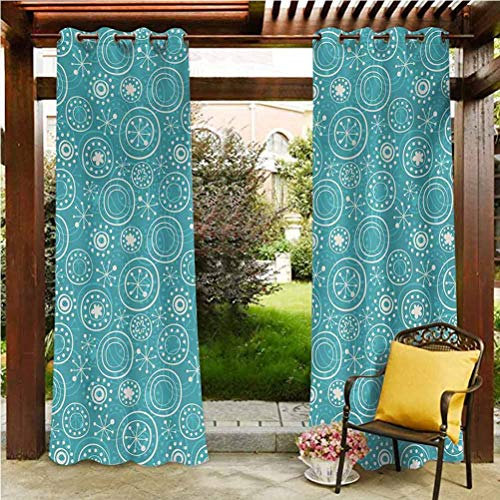Snowflake Durable Curtain Outdoor curtain gazebo christmas decoration Circles and Line Pattern Abstract Geometric Arrangement Sketch Style Illustration Teal White 108'W by 96'L(K274cm x G243cm)