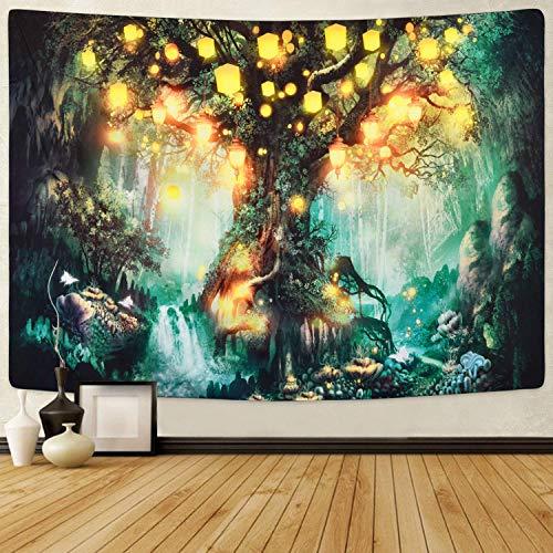 Tapiz de cuentos de hadas del bosque, tapiz de cascadas bajo el árbol de la vida, tapiz psicodélico del bosque de fantasía Tapices de árbol para habitación