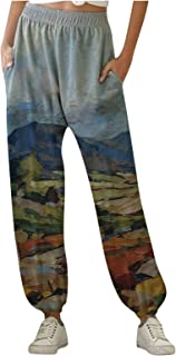 Buyaole Pantalon de Chándal para Mujer Largos Pantalones Estampado Montaña Deportivos Pantalón de Yoga con Bolsilpara
