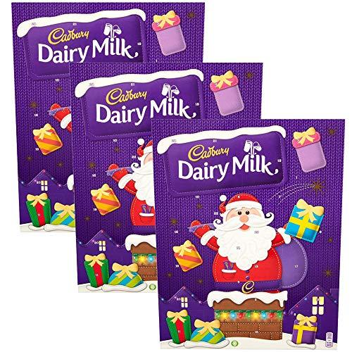 KRISP Cadbury Adventskalender mit Milchschokolade, für Kinder, zum Basteln, 24 Snack-Geschenke, 3 Stück