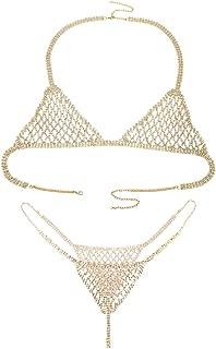 Ingemark Sexy Statement Crystal Bikini Chain for Women Top Bra Brief