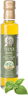 THYA Basil Flavored Extra Virgin Olive Oil Cold Pressed Olives EVOO for Salad Dressing and Cooking (8.45 fl oz/ 250ml)