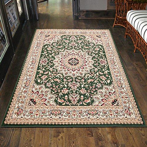 Carpeto Klassischer Orientteppich & Perserteppich mit Orientalisch Ornamente Muster Kurzflor in Grün/TOP Preis - ÖKO TEX (80 x 150 cm)