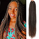 6Packs 24/30 inch Long Box Braids Crochet Hair Extension Synthetic Hair Kanekalon Crochet hair Braids Crochet Box Braids Hair Synthetic Crochet Hair(24inch, T30)