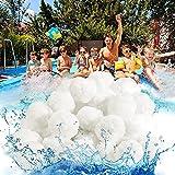 Filterbälle für Pool- OFUN 1400g leichtestes Material & Extra langlebige Filter Balls- Kann 50kg Filtersand Ersetzen, Geeignet für Schwimmbad, Filterpumpe, Aquarium Sandfilter, Sandfilteranlage