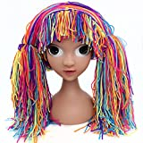 Qhome Clown Wig Girls Halloween Costume Wig Funny Hat Handmade Winter Warm Crocheted Cabbage Patch Clown Pigtail