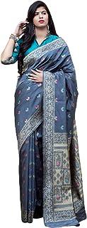 Grey Indian Women Cocktail Party Wear Soft Weaving Banarasi Silk Sari Blouse Bollywood Hit Trending Designer Dress 6095