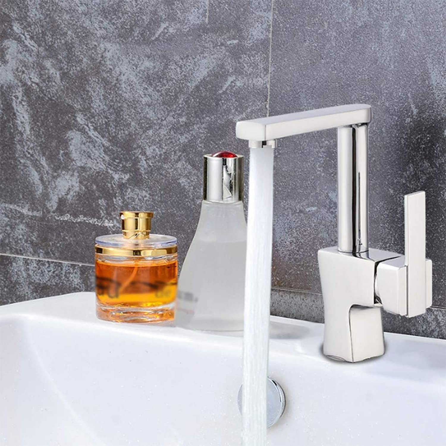 Modern Bathroom taps Copper Seven-Word Square Hot And Cold Water Basin Faucet,Chrome