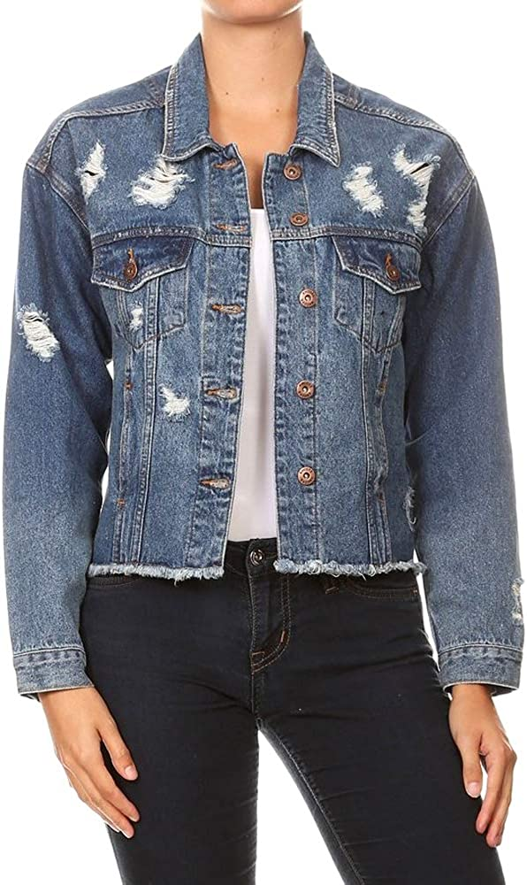 Encore Heart and Soul Women's Ripped Distressed Casual Denim Jacket